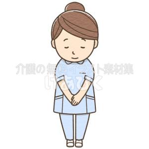 お辞儀をする女性介護士(ブルー)