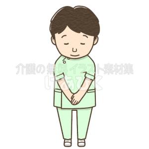 お辞儀をする男性介護士のイラスト(グリーン制服)
