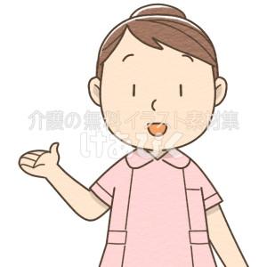 案内をする女性介護士(ピンク)