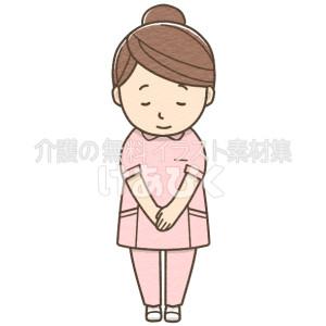 お辞儀をする女性介護士(ピンク)