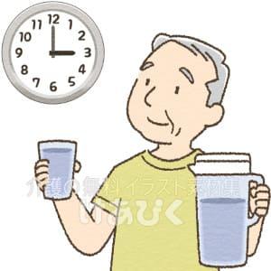時間を決めてこまめに水分補給する高齢男性のイラスト