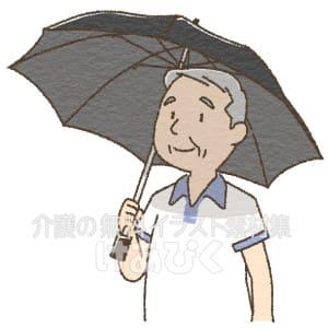 日傘をさす高齢男性のイラスト