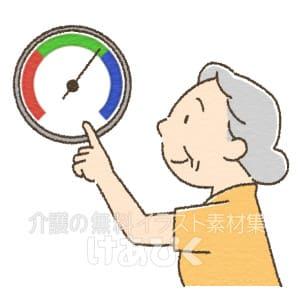 温度計と湿度計の確認をする高齢者のイラスト