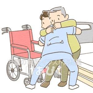 移乗介助(ベッドから車椅子)のイラスト