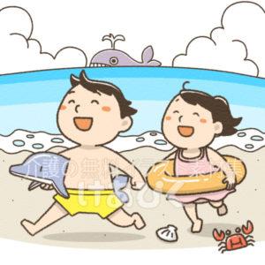 間違い探し(浜辺で遊ぶ子供)のイラスト