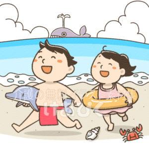 間違い探し(浜辺で遊ぶ子供)のイラスト(誤)