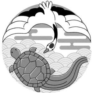 間違い探し(鶴と亀)正のイラスト(白黒版)