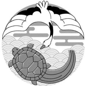 間違い探し(鶴と亀)誤のイラスト(白黒版)