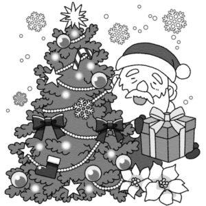 間違い探し(クリスマス)のイラスト正(白黒版)