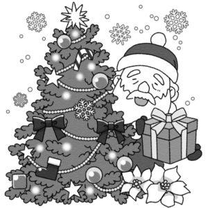 間違い探し(クリスマス)のイラスト誤(白黒版)