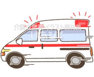 急いでいる救急車のイラスト