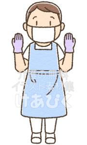 マスク、手袋、エプロンのイラスト