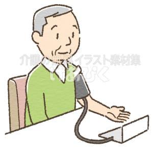 血圧を測る高齢者のイラスト