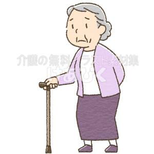 杖を使う高齢女性のイラスト