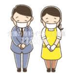 マスクをしてお辞儀をするスーツの男性とエプロン女性