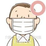マスクを正しく装着しているイラスト(エプロン)