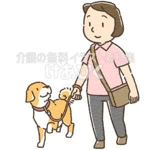 犬の散歩をするヘルパーのイラスト