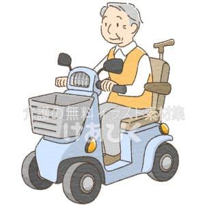 シニアカーを運転する高齢者のイラスト