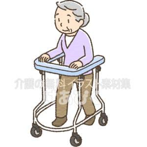 肘支持型歩行器を使用する高齢者のイラスト