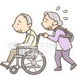 車椅子を押す高齢者(老老介護)のイラスト