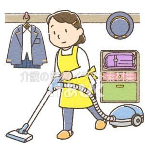 子供部屋を掃除するヘルパーのイラスト