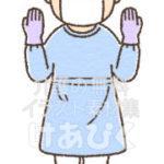 帽子、マスク、ゴーグル、手袋、予防着のイラスト