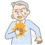 心筋梗塞で胸の痛みを訴える高齢者のイラスト