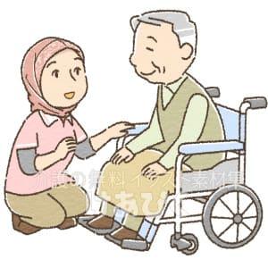 ヒジャブを着用した外国人介護士のイラスト