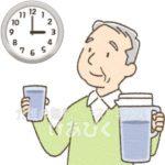 冬でも時間を決めて水分をとる高齢者のイラスト