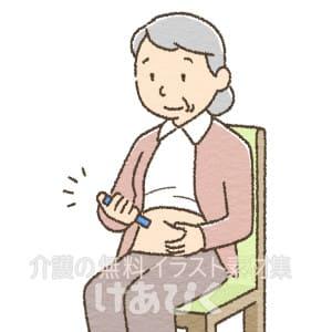 インスリン注射をしているイラスト