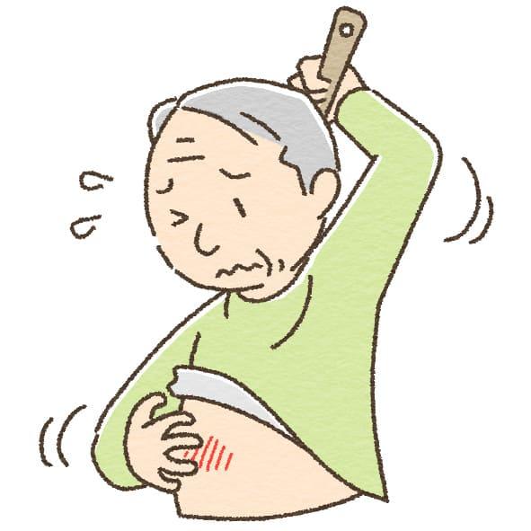痒い高齢者のイラスト