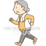 ジョギングをする高齢者のイラスト(女性)
