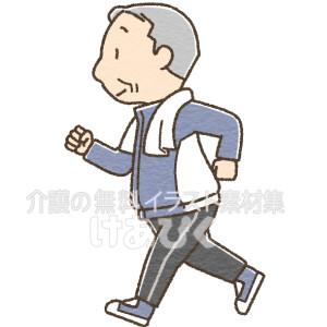 ジョギングをする高齢者のイラスト(男性)