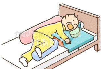 側臥位での口腔ケアのイラスト