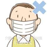 鼻が出ているマスク装着のイラスト(エプロン)