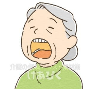 口を開けている高齢者のイラスト