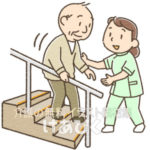 リハビリを行う理学療法士のイラスト