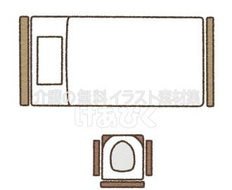 Pトイレの設置場所のイラスト(向かい)