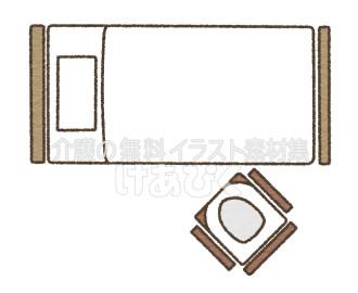 Pトイレの設置場所のイラスト(斜め)