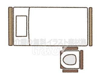 Pトイレの設置場所のイラスト(足側)