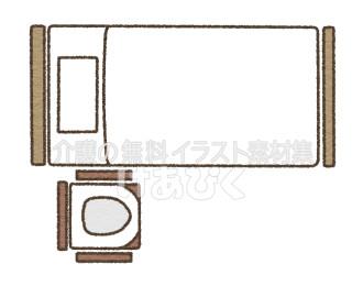Pトイレの設置場所のイラスト(頭側)