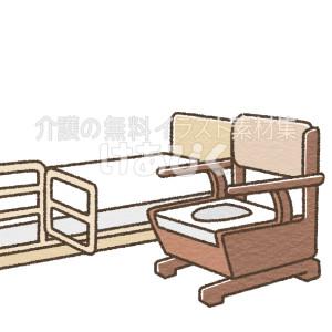 ベッドとポータブルトイレのイラスト