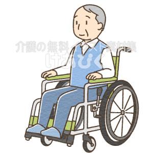 姿勢よく車椅子に座る高齢者のイラスト