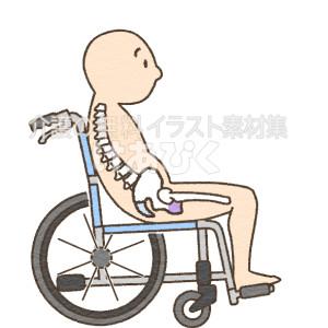 車椅子で滑り座りをするイラスト