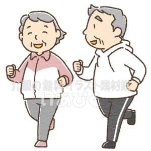 ジョギングをする高齢夫婦のイラスト
