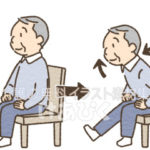椅子に座って足裏伸ばし体操をするイラスト