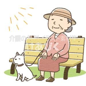 手のひら日光浴をする高齢者のイラスト