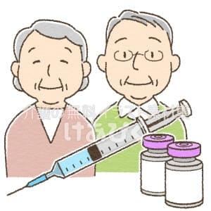 注射器と高齢者のイラスト