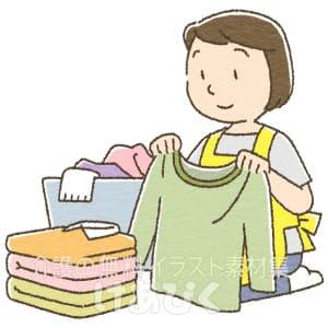 洗濯物を畳むイラスト