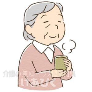 お茶を飲む高齢者のイラスト